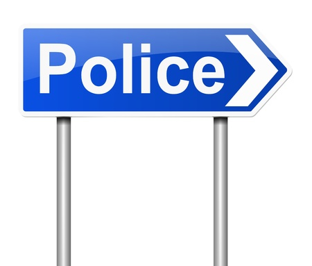 directing: Illustration depicting a sign directing to the Police.