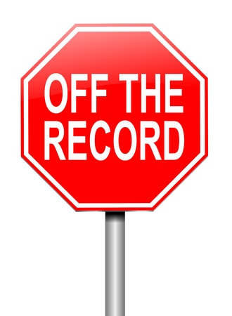 backdoor: Illustration depicting a sign with an off the record concept.