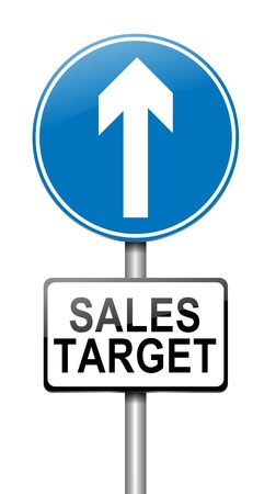 turnover: Illustration depicting a sign with a sales target concept. Stock Photo