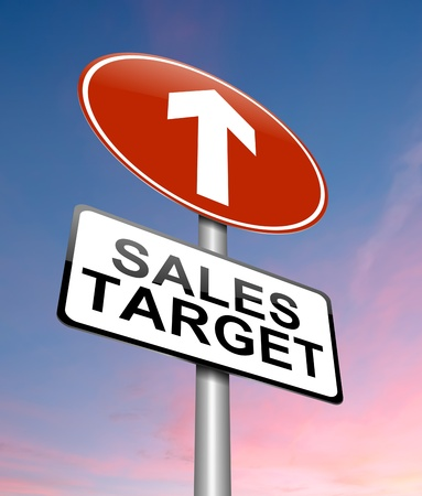 sales meeting: Illustration depicting a sign with a sales target concept. Stock Photo