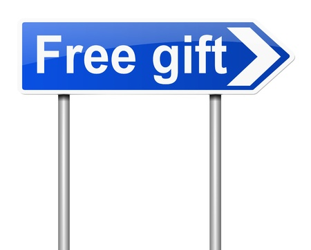 free gift: Illustration depicting a sign with a free gift concept