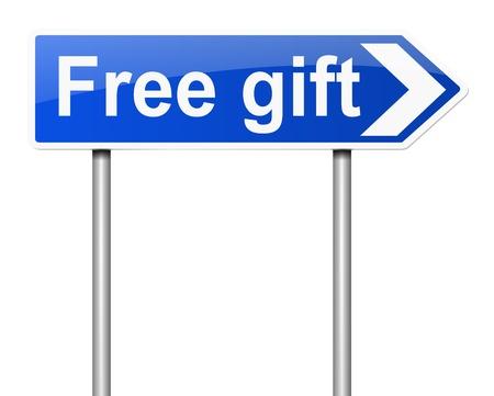 rewarded: Ilustraci�n que muestra un letrero con un concepto de regalo
