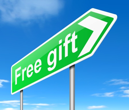 rewarded: Illustration depicting a sign with a free gift concept