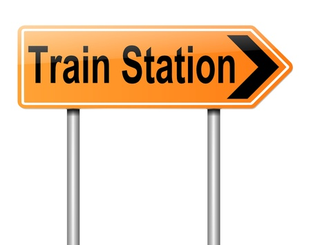Illustration depicting a sign directing to the Train Station  Stock Illustration - 19752502