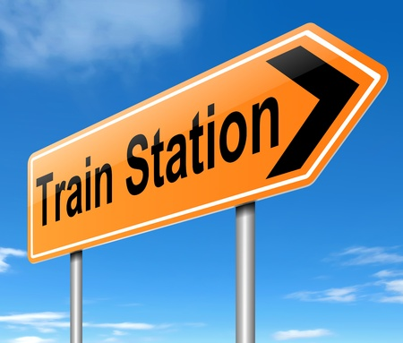 Illustration depicting a sign directing to the Train Station
