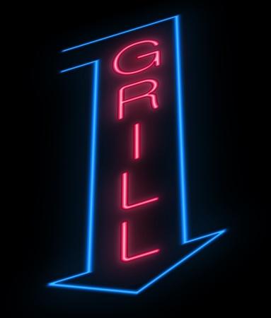 sear: Illustration depicting an illuminated neon grill sign  Stock Photo
