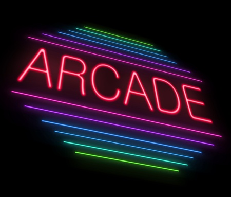 Illustration depicting an illuminated neon arcade sign  illustration