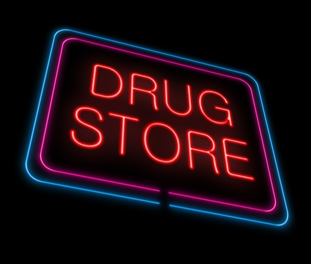 druggist: Illustration depicting an illuminated neon drugstore sign