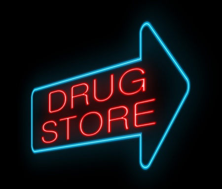 Illustration depicting an illuminated neon drugstore sign  illustration