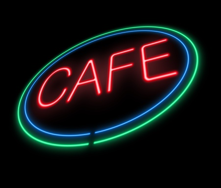 Illustration depicting an illuminated neon cafe sign