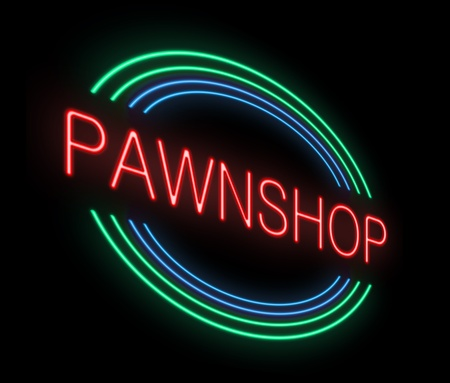 monies: Illustration depicting an illuminated neon pawnshop sign