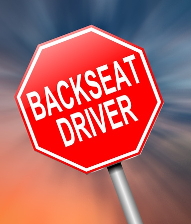 find fault: Illustration depicting a sign with a backseat driver concept