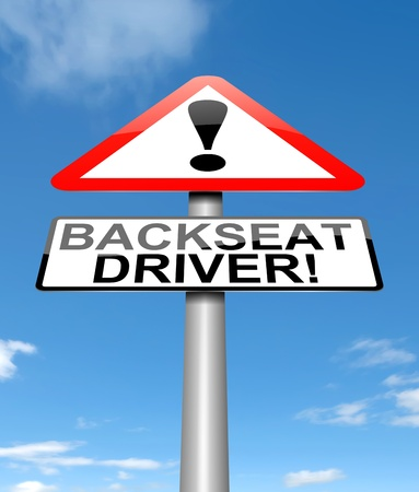 eavesdropper: Illustration depicting a sign with a backseat driver concept