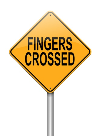 fingers crossed: Illustration depicting a sign with a fingers crossed concept  Stock Photo