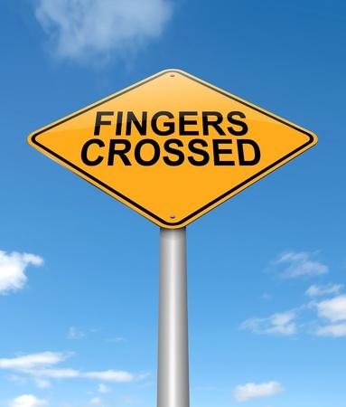 Illustratie geeft een bord met een gekruiste vingers begrip