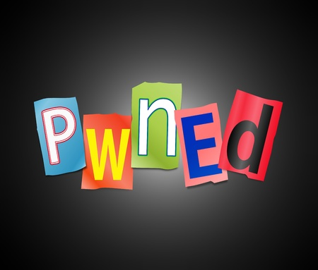 slang: Illustration depicting a set of cut out printed letters arranged to form the word pwned  Stock Photo