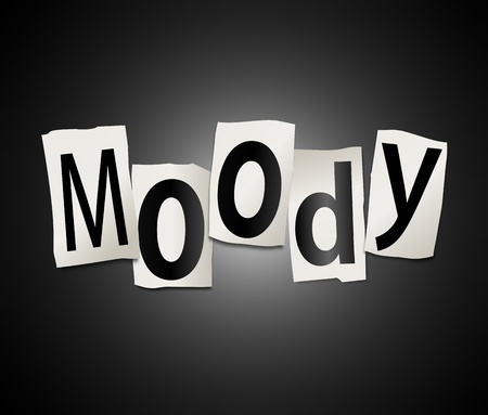 miserable: Illustration depicting a set of cut out printed letters arranged to form the word moody  Stock Photo