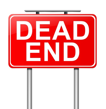 end of road: Illustration depicting a sign with a dead end concept