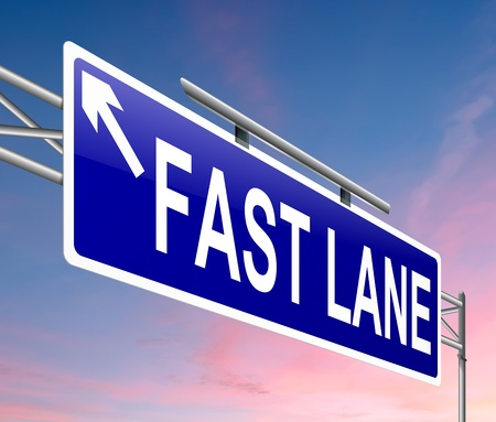 quicker: Illustration depicting a sign with a fast lane concept