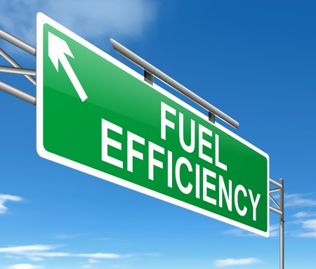 Illustration depicting a sign with a fuel effiency concept  illustration