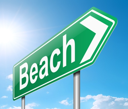Illustration depicting a sign directing to the beach Stock Illustration - 20143581