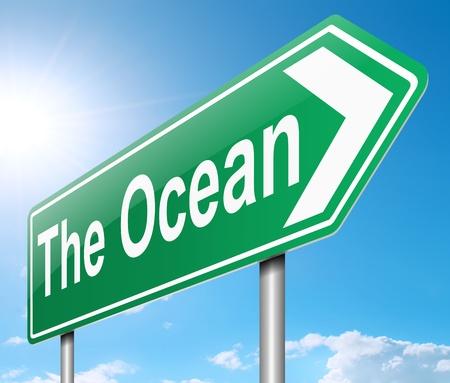 directing: Illustration depicting a sign directing to the ocean  Stock Photo