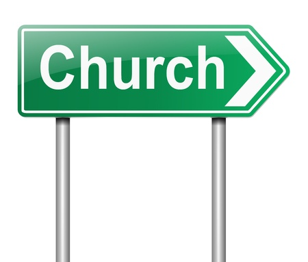 directing: Illustration depicting a sign directing to Church