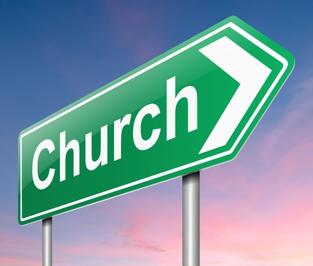 Illustration depicting a sign directing to Church