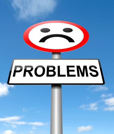 snag: Illustration depicting a sign with a problem concept  Stock Photo