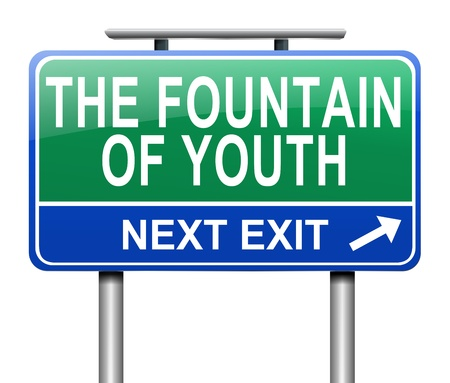 Illustration depicting a sign with a fountain of youth concept. Imagens