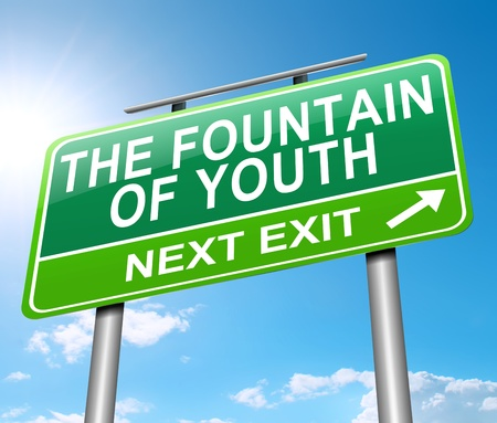 restoration: Illustration depicting a sign with a fountain of youth concept. Stock Photo