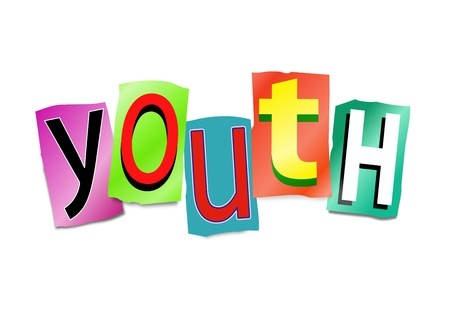 immature: Illustration depicting a set of cut out printed letters arranged to form the word youth