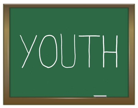 immature: Illustration depicting a green chalkboard with a youth concept  Stock Photo