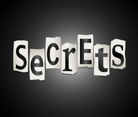 secretive: Illustration depicting a set of cut out printed letters arranged to form the word secrets