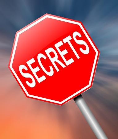 secretive: Illustration depicting a sign with a secrets concept