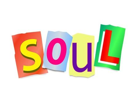 ser humano: Ilustración que muestra un conjunto de letras impresas cortadas dispuestas para formar la palabra alma