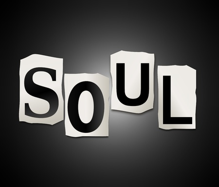 ambiance: Illustration depicting a set of cut out printed letters arranged to form the word soul
