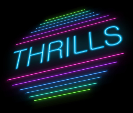 elation: Illustration depicting an illuminated neon thrills sign