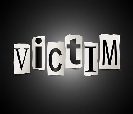 イラストを描いた言葉犠牲者を形成する印刷文字をカットのセット 写真素材
