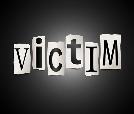 victim: Illustration depicting a set of cut out printed letters arranged to form the word victim  Stock Photo