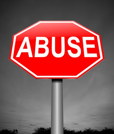 exploited: Illustration depicting a sign with an abuse concept