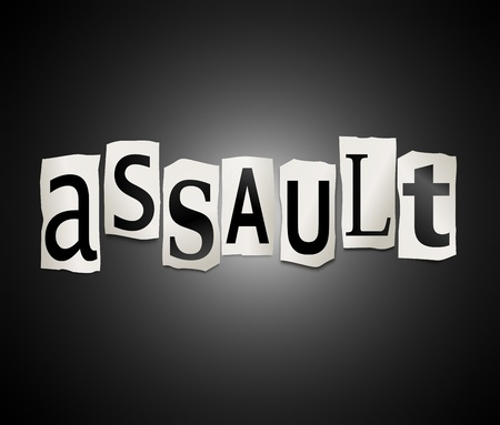 mugged: Illustration depicting a set of cut out printed letters arranged to form the word assault