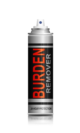 burdened: Illustration depicting a spray can with a burden remover concept