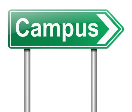 schoolwork: Illustration depicting a sign directing to Campus