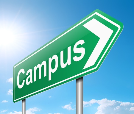 university campus: Illustration depicting a sign directing to Campus
