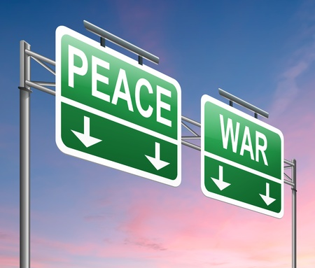 hostilities: Illustration depicting a sign with a war or peace concept