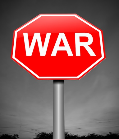 hostilities: Illustration depicting a sign with a war concept