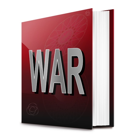 bloodshed: Illustration depicting a text book with a war concept title  White background  Stock Photo