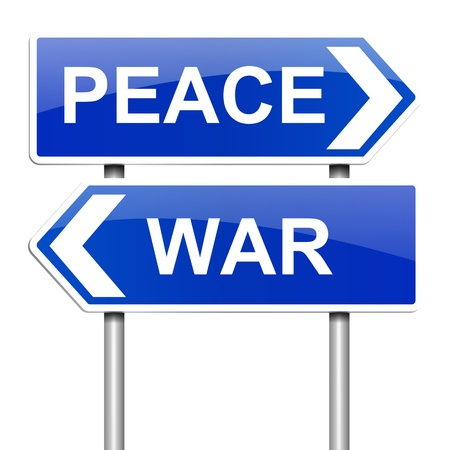 reconciliation: Illustration depicting a sign with a war or peace concept