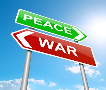 Illustration depicting a sign with a war or peace concept
